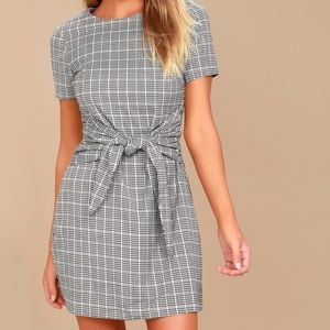 Lulu's Grey & White Tie Dress